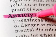 Definición de diccionario de la ansiedad foto de archivo libre de regalías