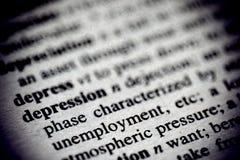 Definición de la depresión en un diccionario imagen de archivo