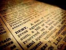 Definición de la deuda Fotografía de archivo libre de regalías
