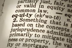 Definición de la equidad Foto de archivo libre de regalías