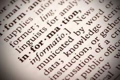 Definición de la información Imagen de archivo libre de regalías