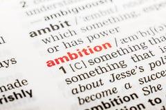 Definición de la palabra de la ambición fotografía de archivo
