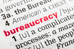 Definición de la palabra de la burocracia Imagen de archivo libre de regalías