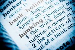 Definición de la palabra de las actividades bancarias foto de archivo libre de regalías