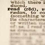 Definición de leído. Imagen de archivo libre de regalías