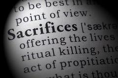 Definición de sacrificios fotografía de archivo