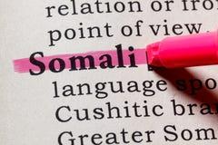 Definición de somalí fotografía de archivo