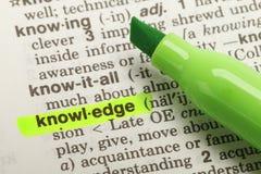 Definición del conocimiento Fotos de archivo