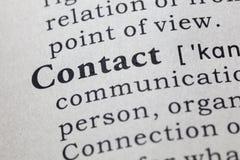 Definición del contacto imagen de archivo libre de regalías
