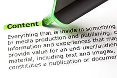 Definición del contenido de la palabra Imágenes de archivo libres de regalías