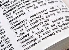 Definición del dinero Imagen de archivo libre de regalías