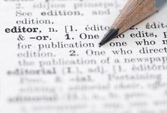 Definición del editor en diccionario inglés. Foto de archivo