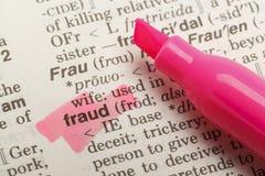 Definición del fraude Imagen de archivo libre de regalías