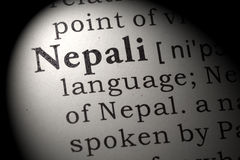 Definición del Nepali imágenes de archivo libres de regalías