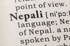 Definición del Nepali foto de archivo