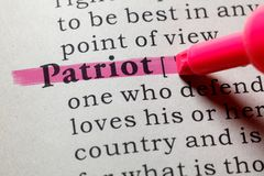 Definición del patriota imagenes de archivo