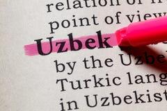 Definición del Uzbek foto de archivo libre de regalías
