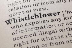 Definición del whistleblower fotografía de archivo libre de regalías