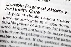 Definición durable de la atención sanitaria del abogado del poder imágenes de archivo libres de regalías