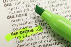Definición de la diabetes Fotografía de archivo