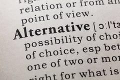 Definicja alternatywa zdjęcie stock
