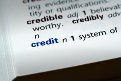 definicja kredytowej Zdjęcie Stock