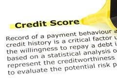 Kredytowy wynik podkreślający w kolor żółty zdjęcie royalty free