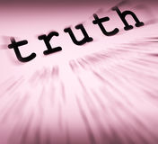 A definição da verdade indica a honestidade ou a veracidade verdadeira Fotos de Stock Royalty Free