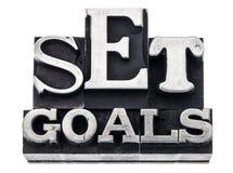 Definisca gli obiettivi nel tipo del metallo Immagini Stock