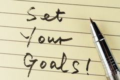 Definisca i vostri obiettivi immagine stock libera da diritti