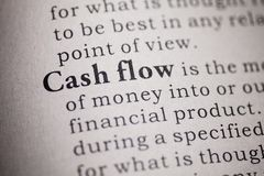 Definitie van de woordcash flow stock afbeelding