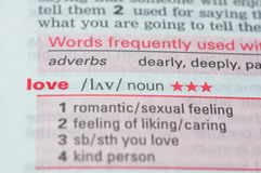 Definitie van de woordliefde Stock Afbeeldingen