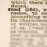 Definitie van gelezen. royalty-vrije stock afbeelding
