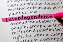 Definitie van onderlinge afhankelijkheid royalty-vrije stock afbeeldingen