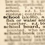 Definitie van school. stock afbeeldingen