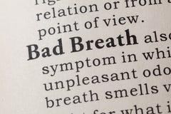 Definitie van Slechte adem Stock Afbeelding
