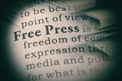 Definitie van vrije pers Royalty-vrije Stock Foto's