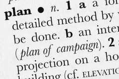 Definitio de dictionnaire de mot de plan Images stock