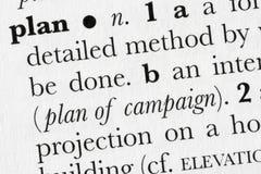 Definitio del diccionario de palabra del plan Imagenes de archivo