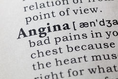 Definition of angina. Fake Dictionary, Dictionary definition of the word angina. including key descriptive words Royalty Free Stock Photo