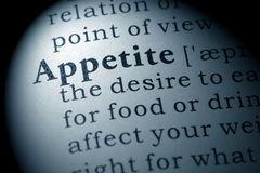 Definition of appetite. Fake Dictionary, Dictionary definition of the word appetite. including key descriptive words Stock Images
