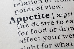 Definition of appetite. Fake Dictionary, Dictionary definition of the word appetite. including key descriptive words Stock Photo
