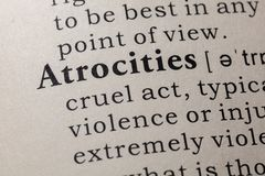 Definition of atrocities. Fake Dictionary, Dictionary definition of the word atrocities. including key descriptive words stock image