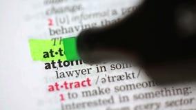 Definition av advokaten stock video