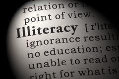 Definition av analfabetism Royaltyfri Fotografi
