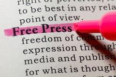 Definition av fri press Royaltyfri Fotografi