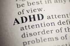 Definition av ordet ADHD arkivfoton