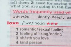 Definition av ordförälskelsen Arkivbilder
