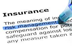 Definition av ordförsäkringen arkivbild