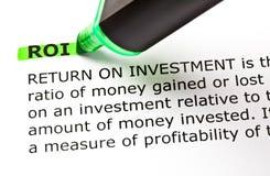 Definition av retur på investeringROI Arkivfoton